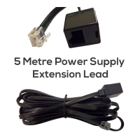 Power Supply Extension Lead 5 Metres In Black (RJ11 Plug Connection With Left Offset Clip)